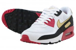NIKE AIR MAX 90 - WHITE/METALIC GOLD-BLACK