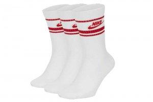 NIKE NSW ESSENTIAL STRIPE 3P SOCKS - WHITE/RED