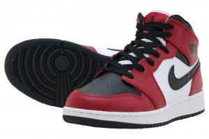 AIR JORDAN 1 MID GS - BLACK/BLACK-GYM RED