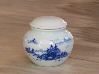 三希 青花山水 小茶筒