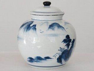 風清堂 青花一斤茶筒 山水