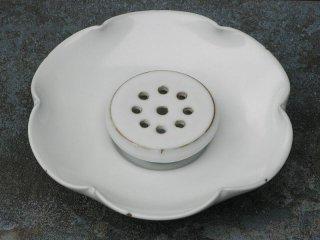 許徳家 白釉 荷葉茶盤(大)