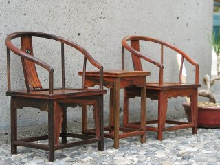 ミニチュア中国家具 酸枝 鏤空圏椅