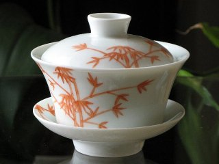 景徳鎮手書き蓋碗 紅竹