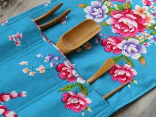 茶道具ケース(花布ブルー)