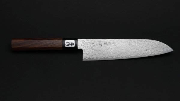 積層 三徳 紫檀柄 (白)<br>NT Damascus Santoku Rosewood Handle (White)