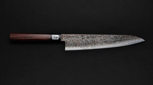 積層 牛刀 紫檀柄 (黒)<br>NT Damascus Gyuto Rosewood Handle (Black)