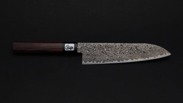 積層 三徳 紫檀柄 (黒)<br>NT Damascus Santoku Rosewood Handle (Black)