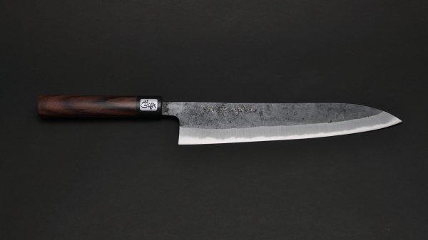本種子島 牛刀 紫檀柄 (黒)<br>Tanegashima Gyuto Rosewood Handle (Kurouchi)