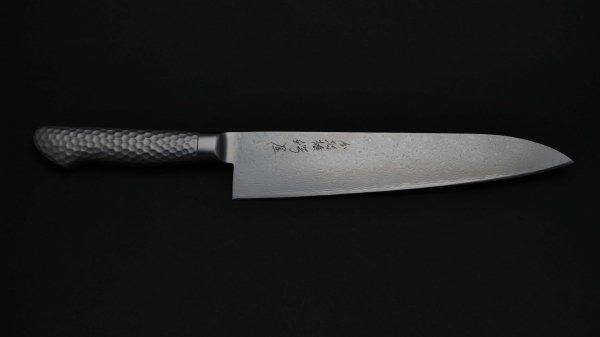 モリブデン鋼63層 牛刀 ステンレス柄<br>Molybdenum 63 Damascus Gyuto Stainless Handle