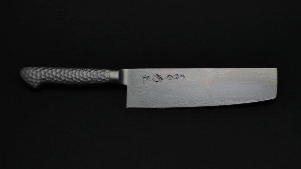モリブデン鋼63層 菜切 ステンレス柄<br>Molybdenum 63 Damascus Nakiri Stainless Handle