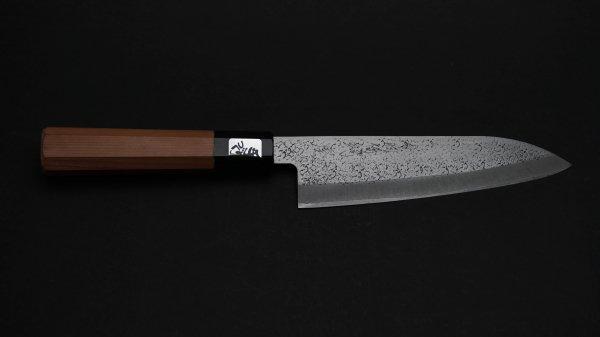 白二鋼 ステンレス割込 槌目打 三徳 イチイ柄<br>White#2 Stainless Clad Tsuchime Santoku Yew Wood Handle