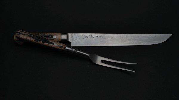 ニッケルダマスカス カービングナイフ 鹿角柄<br>Nickel Damascus Carving Knife Stag Handle