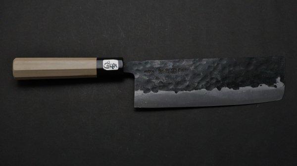 三枚打 白二鋼 黒打 菜切 朴柄 (八角)<br>White#2 Kurouchi Nakiri Magnolia Handle (Oct)