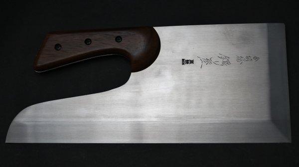 本焼 INOX 麺切 紫檀柄 (短柄)<br>Honyaki INOX Menkiri Rosewood Handle (Straight)