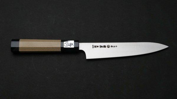 本焼 INOX 和式柄 ペティ 朴柄 (薄口幅広)<br>Honyaki INOX Wa-Handle Petty Magnolia Handle (Thin Wide)