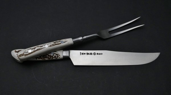 本焼 INOX カービングナイフ 鹿角柄 (セット)<br>Honyaki INOX Carving Knife Stag Handle (Set)