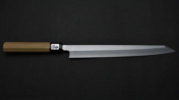銀三鋼 上仕上 切付柳刃 朴柄<br>Ginsan Pro Kiritsuke Yanagiba Magnolia Handle