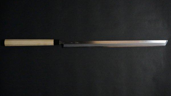 白二鋼 普及品 まぐろ切 朴柄<br>White #2 Tsuna Knife Magnolia Handle