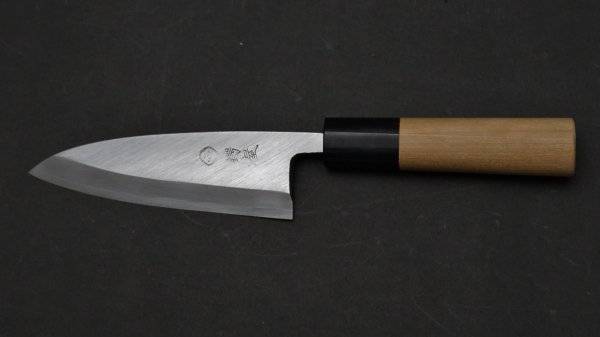 左刃 白二鋼 普及品 小出刃 朴柄<br>Left Handed White #2 Small Deba Magnolia Handle