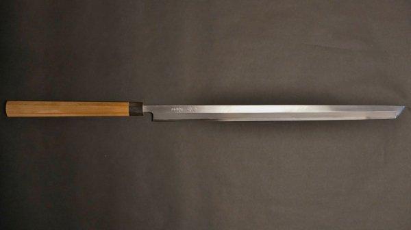 青ニ鋼 上仕上 まぐろ切 朴柄<br>Blue #2 Pro Tsuna Knife Magnolia Handle