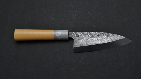 V金10号 槌目 小出刃 朴柄<br>VG10 Tsuchime Small Deba Magnolia Handle