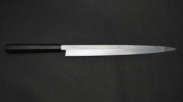 本焼 青二鋼 フグ引 黒檀柄<br>Honyaki Blue #2 Fugubiki Ebony Handle
