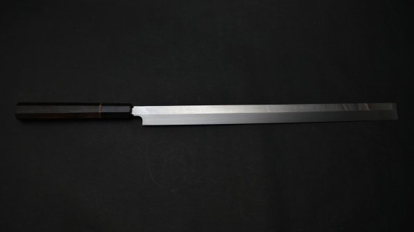 本焼 青二鋼 蛸引 黒檀柄<br>Honyaki Blue #2 Takobiki Ebony Handle
