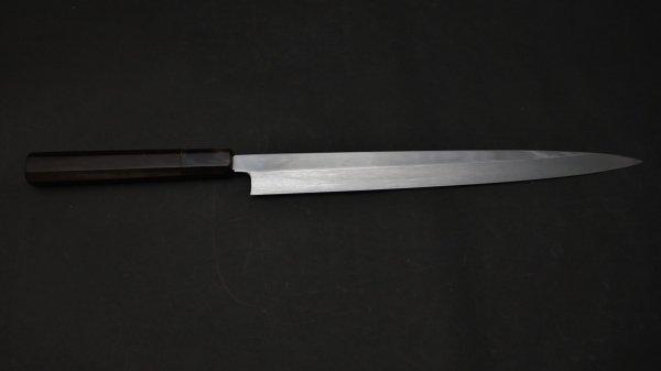 本焼 白二鋼 フグ引 黒檀柄<br>Honyaki White #2 Fugubiki Ebony Handle