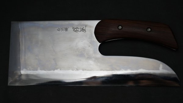 左刃 青二鋼 麺切 アイアンウッド柄 (鏡面)<br>Left Handed Blue #2 Menkiri Ironwood Handle (Mirror Polished)