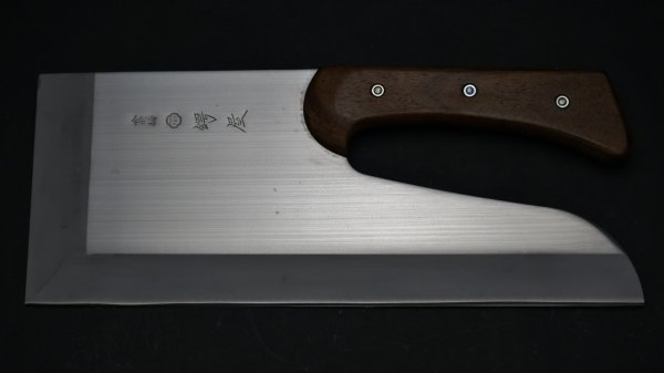 左刃 NHK モリブデン鋼 麺切 紫檀柄 (曲柄)<br>Left Handed NHK Molybdenum Menkiri Rosewood Handle (Curved)