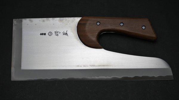左刃 NHK モリブデン鋼 麺切 紫檀柄 (短柄)<br>Left Handed NHK Molybdenum Menkiri Rosewood Handle (Short)