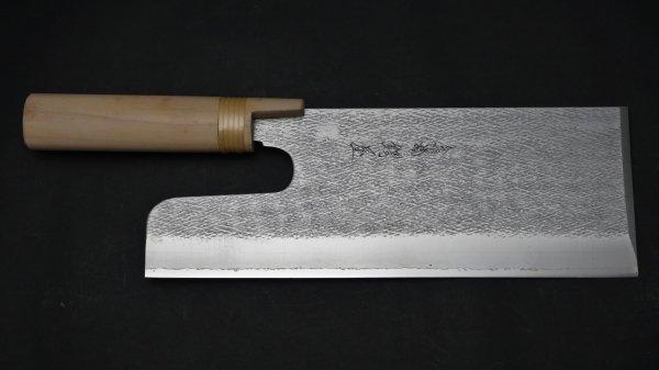 モリブデン鋼 槌目 麺切 朴柄 (両刃)<br>Molybdenum Tsuchime Menkiri Magnolia Handle (Both Handed)