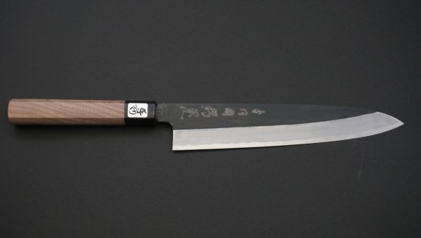 青二鋼 黒打 牛刀 胡桃柄<br>Blue #2 Kurouchi Gyuto Walnut Handle