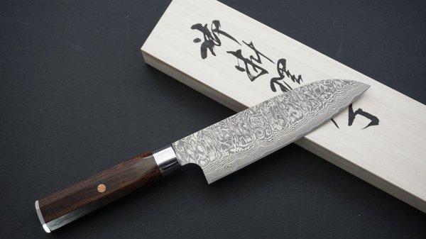 ハイス鋼 ダマスカス 和式 三徳 アイアンウッド柄<br>Powder Steel Ironwood Wa-handle Santoku Ironwood Handle