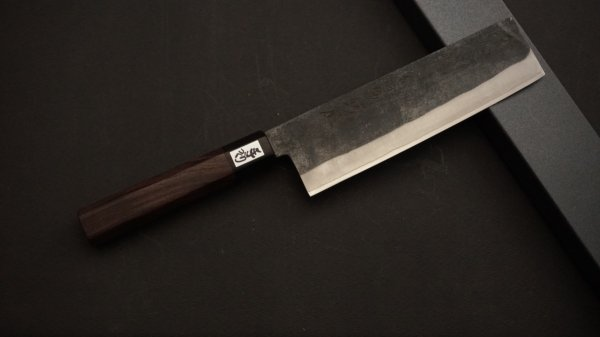 吉田刃物 ZDP-189 黒打 和式柄 菜切 紫檀柄<br>Yoshida ZDP-189 Kurouchi Wa-handle Nakiri Rosewood Handle