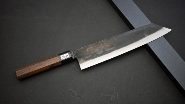 吉田刃物 ZDP-189 黒打 和式柄 切付牛刀 紫檀柄<br>Yoshida ZDP-189 Kurouchi Wa-handle Kiritsuke Gyuto Rosewood Handle