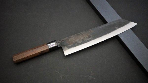 吉田刃物 ZDP-189 黒打 和式柄 切付牛刀 紫檀柄<br>Yoshida ZDP-189 Kurouchi Wa-handle Kiritsuke Gyuto Rosewood Handle