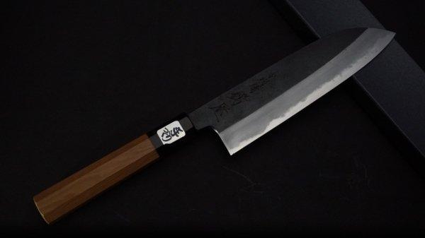 田中 青一鋼 黒打 三徳 イチイ柄<br>Tanaka Blue#1 Kurouchi Santoku Yew Wood Handle