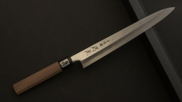 銀三鋼 筋引 ウォールナット柄 (鏡面)<br>Ginsan Mirror Polished Sujihiki Walnut Handle (Mirror)
