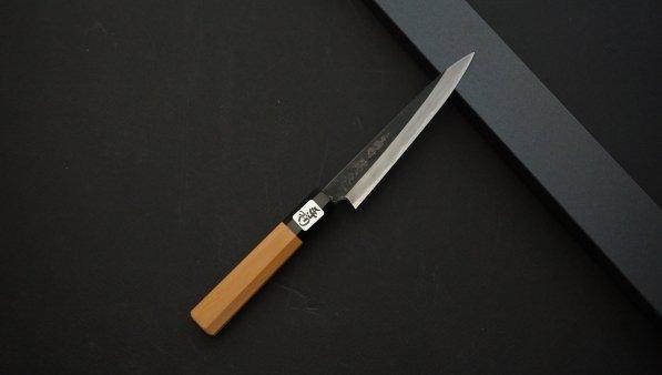 田中 青一鋼 黒打 ペティ イチイ柄<br>Tanaka Blue#1 Kurouchi Petty Yew Wood Handle