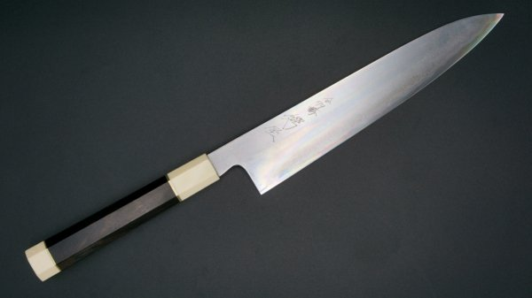 青二鋼 水墨仕上 和式柄 牛刀 240mm 特注柄<br>Blue #2 Suiboku Gyuto Custom made Handle