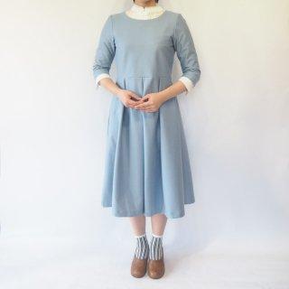 【S】アーミッシュ風シンプルワンピース◇七分袖(デニム調ライトブルー)