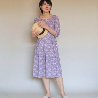 アーミッシュ風シンプルワンピース◇パープル・小花柄(ポロシャツ素材)