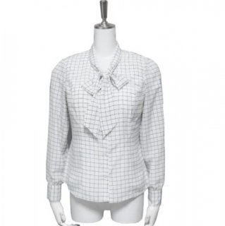 Bowtie blouse -Check-