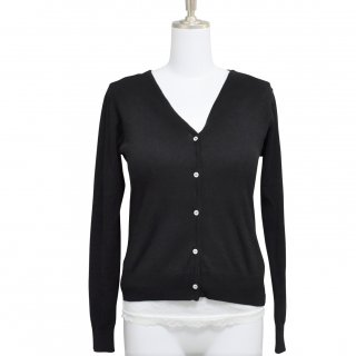 Cardigan V neck-Black-