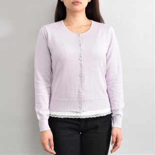 <img class='new_mark_img1' src='https://img.shop-pro.jp/img/new/icons59.gif' style='border:none;display:inline;margin:0px;padding:0px;width:auto;' />Cardigan Round neck-Milk Purple-