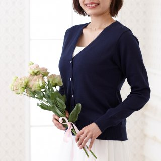 Cardigan V neck -Navy-