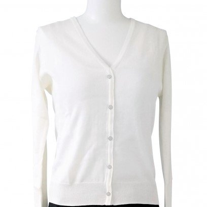 Cardigan V neck-White-
