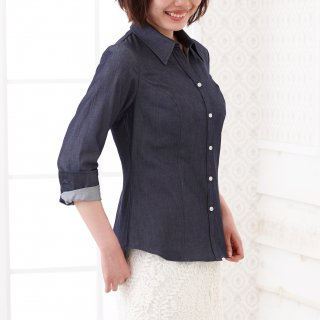 Denim Blouse-Indigo-